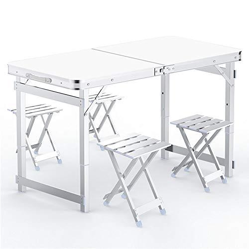 Cozy Vibe - Juego de mesa plegable de aluminio (120 x 60 cm, con 4 sillas de aluminio, altura regulable en 3 niveles), color blanco y gris