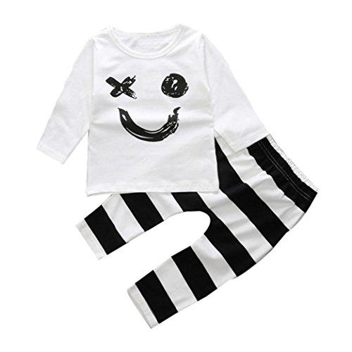 kingko® 1Réglez Infant Toddler garçon Fille Sourire imprimé à Manches Longues T-Shirt Tops + Pantalons Tenues Vêtements (3T)