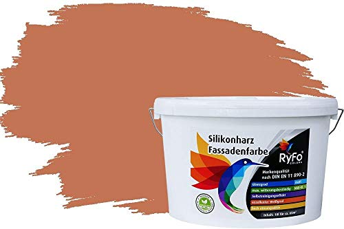 RyFo Colors Silikonharz Fassadenfarbe Lotuseffekt Trend Orangetöne Terracotta 10l - bunte Fassadenfarbe, weitere Orange Farbtöne und Größen erhältlich, Deckkraft Klasse 1