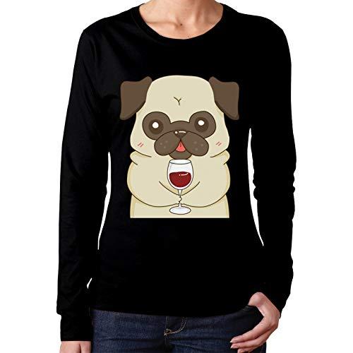 Onita Damen-T-Shirt mit Mops-Motiv, langärmelig, Größe M, Schwarz