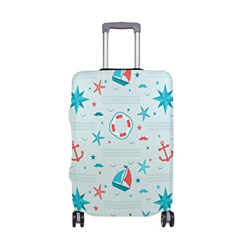 Nautical Anchor Stars Boat Sailing Pattern Luggage Cover Baggage Suitcase Travel Protector Fit for 18-32 Inch
