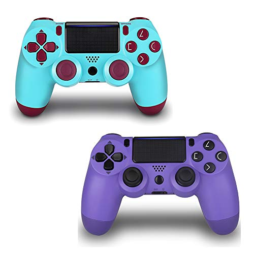2 Pack Controller for PS4,Wireless Controller with Dual Vibration Game Joystick (Berry Purple)
