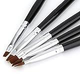 Nueva venta 5 tamaños de acrílico profesional Nail Art Brush Set Uso perfecto para UV Gel Builder Nal Brushes con color negro y plateado