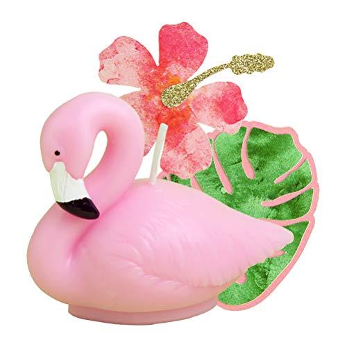 Amosfun 3 x Flamingo-Kerzen Geburtstagsparty Kuchen Topper Unkraut Babyparty Tropische Hawaiian Luau Mottoparty Supplies