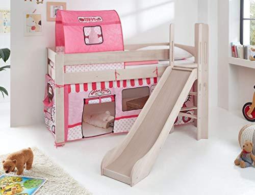 Froschkönig24 Hochbett Leo Kinderbett mit Rutsche Spielbett Bett Weiß Stoffset Hello Kitty, Matratze:mit