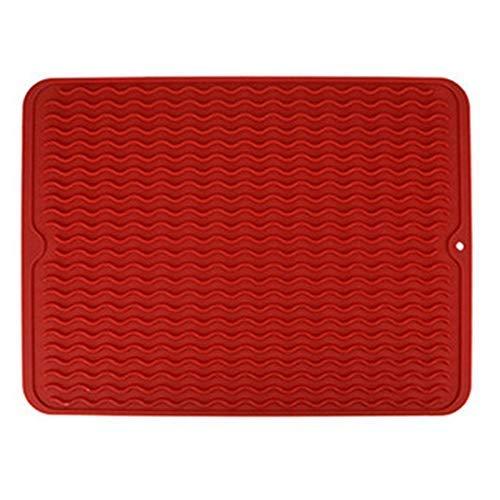 LHQ-HQ Mat de Silicona Multifuncional cojín de la Taza de Bricolaje Cocina Impermeable Coaster Heat Mat Vajilla Mantel Estera de Tabla for secar los Platos Rojo