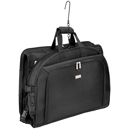 AmazonBasics - Hochwertige Kleidertasche, dreifach faltbar, Schwarz, 1,32m
