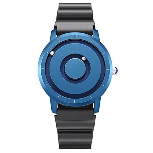 Gnaixyc Reloj De Magnético Resistente Al Agua, Reloj Multifuncional De Metal Unisex, Reloj De Cuarzo Deportivo De Moda, Deportivos Casual Reloj De Pulsera,Azul