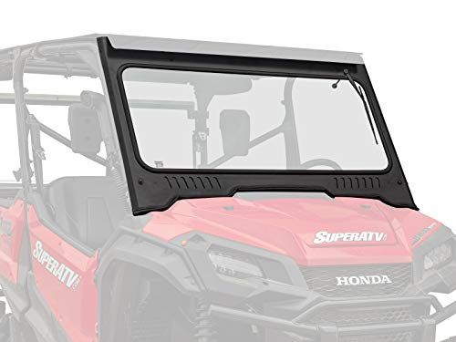 SuperATV Vented Glass Front Windshield for 2016+ Honda Pioneer 1000/1000-5   Aluminum Frame with DOT Approved Laminated Safety Glass   Includes Manual Wiper!