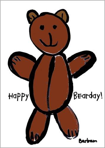 In 5-delige set: schattige verjaardagskaart met knuffelige teddybeer: Happy Bearday!