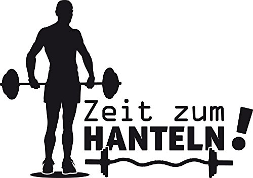 GRAZDesign Wandtattoo Zeit zum Hanteln Aufkleber Sport Sportler Motivation, Fitness, Fitnessraum (81x57cm//070 schwarz)