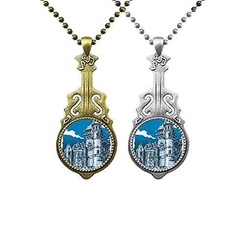Altes Schloss Mittelalterliche Ritter Europas Emblem Liebhaber Musik Gitarre Anhänger Schmuck Halskette Anhänger