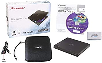 Pioneer BDR-XD05B Blu-Ray Player & Burner - 6X Slim External BDXL, BD, DVD & CD Drive for Windows & Mac with 3.0 USB - Write & Read on Laptop or Desktop, Includes CyberLink Media Suite 10 & case