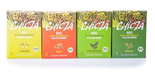 ChicZa Bio-Kaugummi Set 4 Sorten - Minze, Spearmint, Zimt, Limone (bio, vegan)