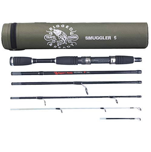 Rigged & Ready Smuggler 5, Travel Fishing Rod. Compact, Powerful, 5 Piece, 160cm, 5.25 ft, high Performance, Nano Carbon Rod with Unbreakable tip, Travelling Fishing Pole in a Compact Format.
