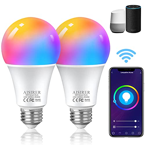 Lampadina Alexa Smart, AISIRER Lampadina Intelligente WiFi E27 2700K RGB 10W Dimmerabile, Controllo Tramite App Funziona con Amazon Alexa e Google Assistant, 2 PezzI