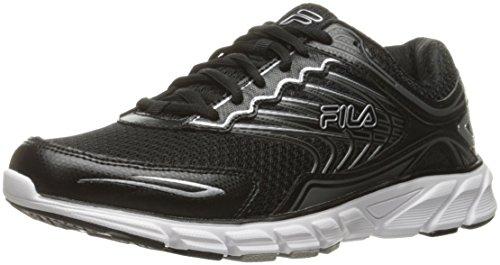 Fila Men's Memory Maranello 4 Running Shoe, Black/Black/Metallic Silver, 11 M US