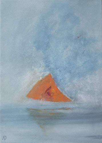 Segelboot im Nebel original Acryl Gemälde 50x70