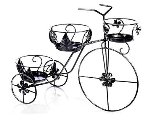 Sbalchiero PORTAVASO Ferro BATTUTO Bicicletta Grande DIAM. 21 E DIAM. 16 CM Materiale: Acciaio Verniciato Sfumatura Color Argento Misure Cm 80X33X58H