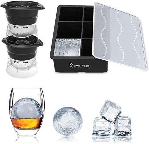 Fylina Eiswürfelform aus Silikon, BPA-frei, mit Deckel, für Whisky, Babynahrung, Cocktails, Getränke, 3 Stück