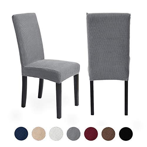ManMengJi Stretch-Stuhlhussen,Abnehmbare Waschbare Stuhlüberzug, 4 Stück Stuhlhussen aus Fleece,Allgemeines Zubehör für Esszimmer Stuhl Schutzhülle für Hotel,Restaurant,Zeremonie(grün)