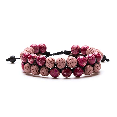 Aromatherapy Essential Oil Diffuser Bracelet Lava Stone Bead Gemstone Anxiety Diffuser Bangle Cuff Bracelet(Rose Pink)