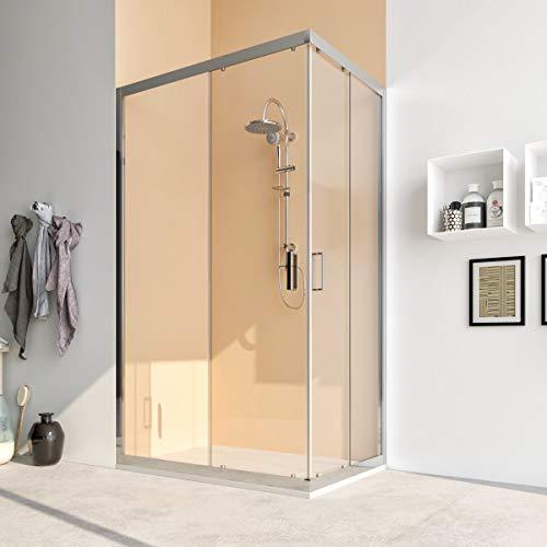 Box doccia cabina angolare 70 75 80 90 100 110 120 140 cm porta scorrevole vetro cristallo anticalcare 6mm ACACIA (70x70 cm, Vetro: TRASPARENTE)