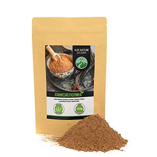 Poudre de caroube (250g), Gomme de caroube, poudre de noyau de caroube, noyaux de caroube naturels et végétaliens, doucement séchés et moulus, sans additifs