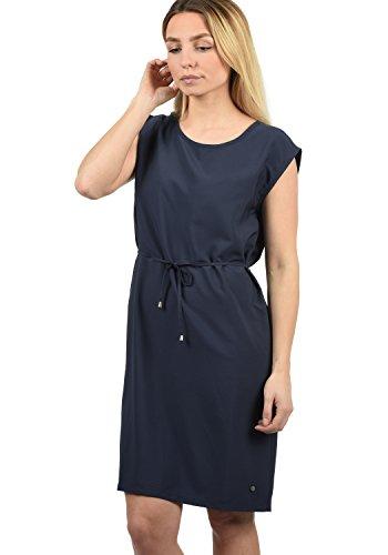BlendShe Amaia Damen Blusenkleid Lange Bluse Kleid Mit Rundhals-Ausschnitt Knielang, Größe:L, Farbe:Mood Indigo Solid (20064)