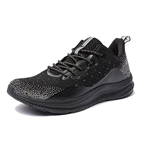 Anbenser Zapatillas de Hombres Deporte Zapatos Ligeras Comodo Zapatos Running Antideslizante Calzado Mesh Transpirables para Exterior Correr Gimnasio, Todo Negro, 46 EU