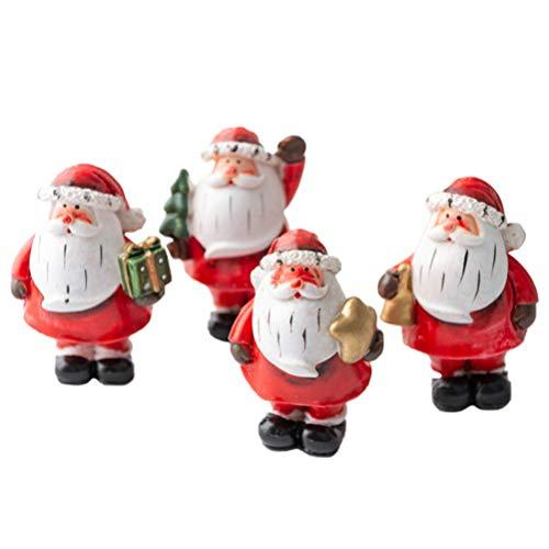 ABOOFAN Weihnachtsmann Miniatur Santa Claus Statue Mini Nikolaus Figuren Mikrolandschaft Bonsai Ornament Dekofiguren Weihnachten Party Tischdeko Kinder Mitgebsel Geschenke 4 Stück