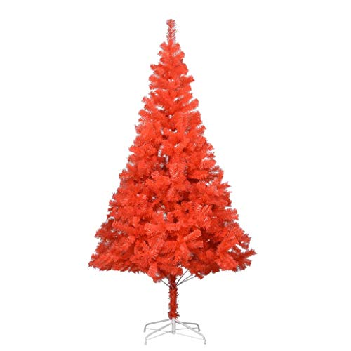 vidaXL Árbol de Navidad artificial con soporte rojo, 180 cm, PVC