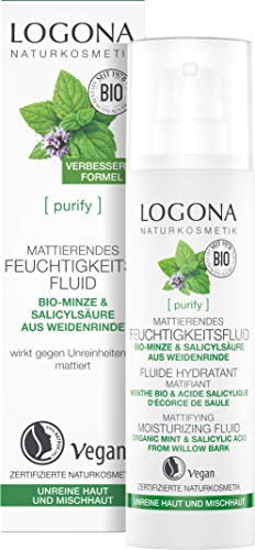 LOGONA Naturkosmetik PURIFY Mattierendes Feuchtigkeitsfluid Bio-Minze & Salicylsäure aus der Weidenrinde, 30 ml