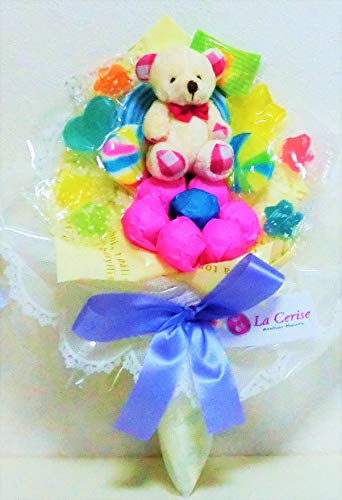 キャンディーブーケ 手持ちSサイズ シロクマさん(ピンク)発表会 花束 (アイボリー)