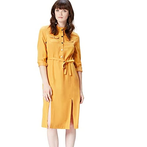 Marchio Amazon - find. Abito Camicione Donna, Giallo (Yellow), 42, Label: S