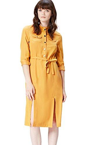 Amazon-Marke: find. Damen Midi-Kleid mit Hemd-Design, Gelb (Yellow), 38, Label: M