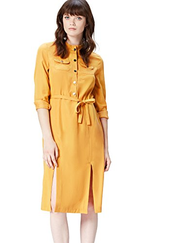 Marca Amazon - find. Vestido Camisero para Mujer, Amarillo (Yellow), 40, Label: M