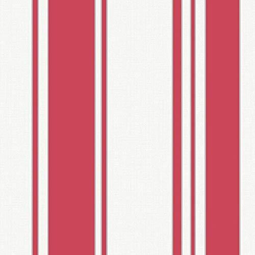 Fine Décor FD41941 Isobelle Tapete, gestreift, Rot/silberfarben
