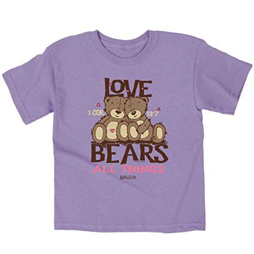 Camiseta infantil Kerusso – Love Bears 3T camiseta infantil cristã, lavanda, 3T