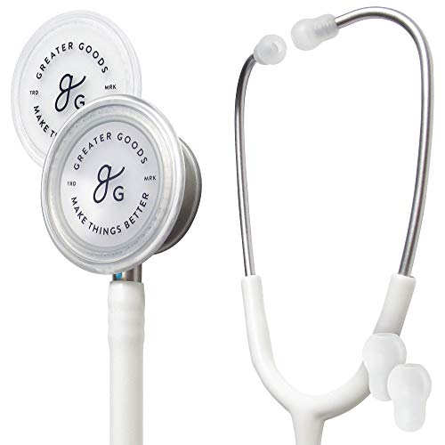 GreaterGoods Dual-Head Stethoscope, Classic Design for Medical and Home Routine Physical Assessing Basic Heart and Lung Examinations (White)