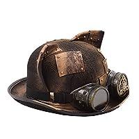 日よけ帽 帽子 レトロ スチームパンク フェドラ ヘッドウェア ビーチ帽子 (Color : Yellow, Size : 56-58cm)