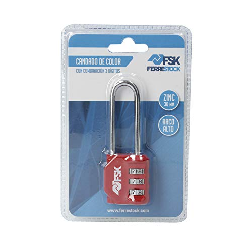 Ferrestock FSKCAN329RD Candado de combinación numérico con 3 dígitos para equipaje, taquillas de gimnasio, arco largo 55mm, Fabricado en zinc y arco de acero, color rojo