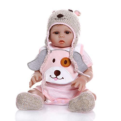 MineeQu 18inches 48cm Real Life Pink Welpen Premie Baby Größe Neugeborene Cuddy Baby Doll Look Echte Silikon Vinyl Ganzkörper Reborn Puppen Anatomisch korrekt Waschbar für Mädchen