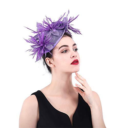 LTH-GD Gorra de Invierno y Sombrero Elegante de Las Mujeres Sombrero Fascinator Cóctel de Halloween Gorras de Plumas de Boda Pinza de Pelo Accesorios Carrera Royal Ascot