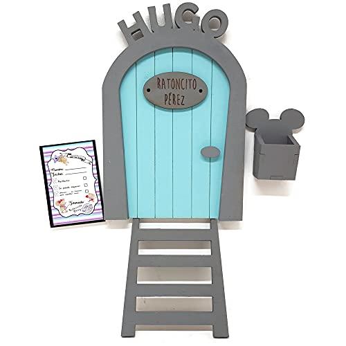 Puerta Ratoncito Pérez azul PERSONALIZADA de madera, con escalera, buzón y certificado. Producto artesanal hecho en España