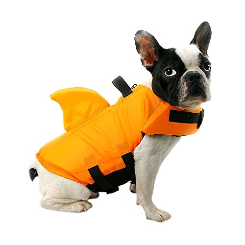 FONLAM Chaleco Salvavidas para Mascotas Chaqueta Chaleco de Seguridad Perro Perrito Ajustable con Aleta de Tiburón Ropa de Baño (XS, Naranja)