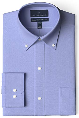 "Amazon Brand - Buttoned Down Men's Classic-Fit Button Collar Solid Non-Iron Dress Shirt w/ Pocket Options, Blue, 18"" Neck 36"" Sleeve (Big and Tall)"