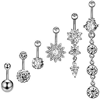 YSense Belly Button Rings Dangle Bars Stainless Steel Belly Piercing Button Cubic Zircon Jewelry