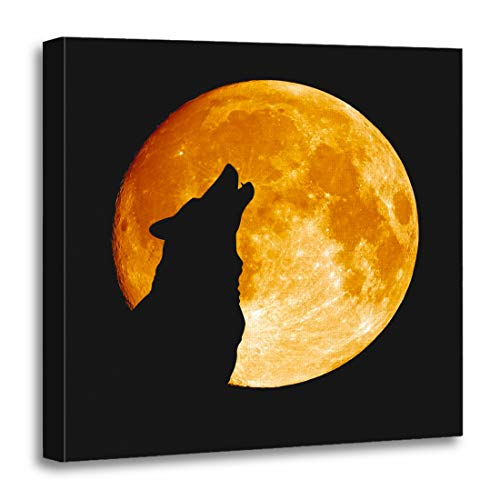 Emvency 20'x20'(50x50cm) Canvas Painting Wall Art Gray Full Wolf Howling at The Moon in Midnigt Halloween Silhouette Dog Head Pack Eye Home Decorative Artwork Prints
