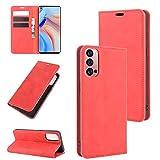 Fertuo Hülle für Oppo Reno 4 Pro 5G, Handyhülle Leder Flip Hülle Tasche mit Kartenfach, Magnetverschluss, Silikon Innenschale Schutzhülle Cover Lederhülle für Oppo Reno 4 Pro 5G Smartphone, Rot